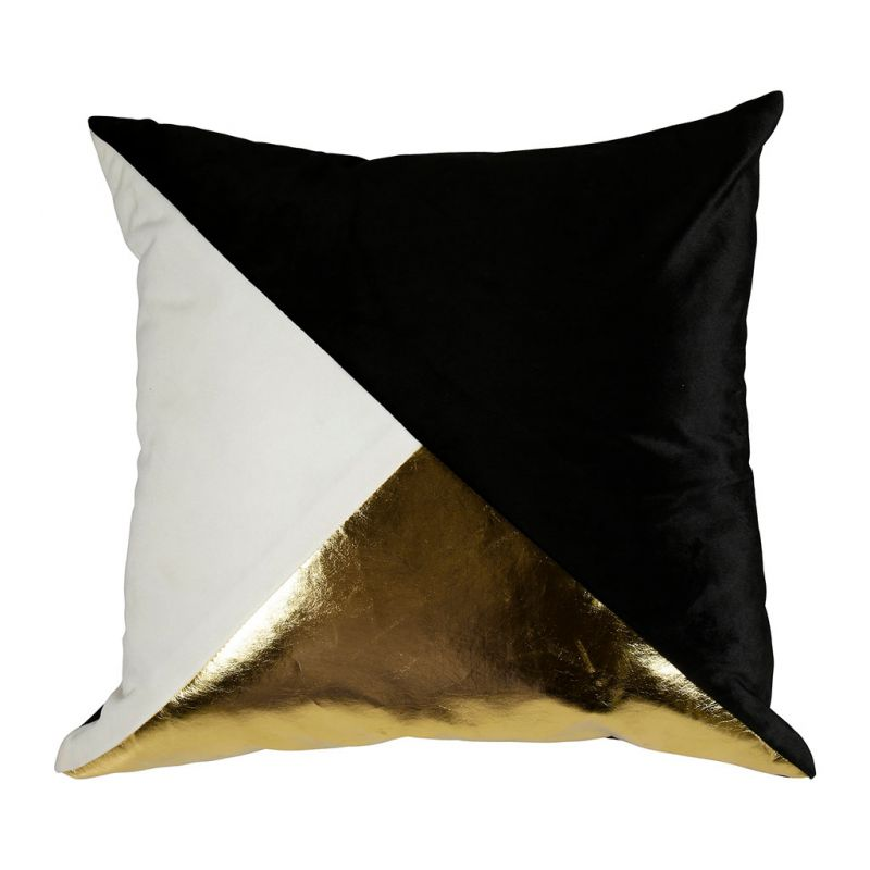 Coussin déco polyester triangles noir blanc