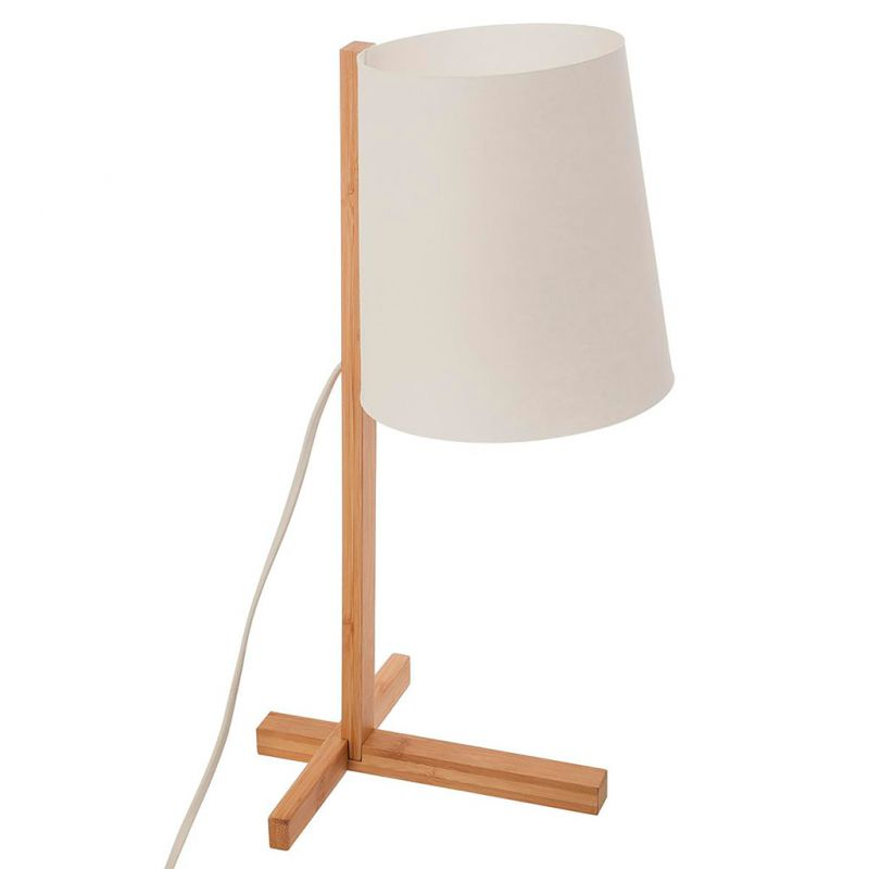 Jour Pied Blanc 41cm À Bambou Lampe H Poser Abat vOm8n0Nw