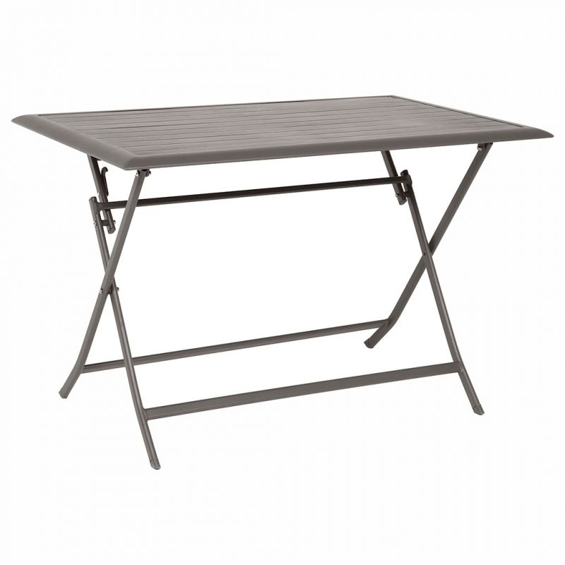 Table de jardin rectangulaire pliante taupe 4 places