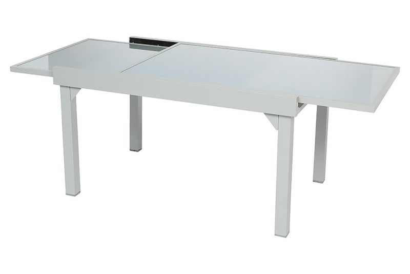 Table piazza extensible silver 135-270x90x75cm