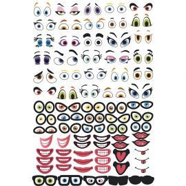 Assortiment de 150 stickers CRAZY FACE