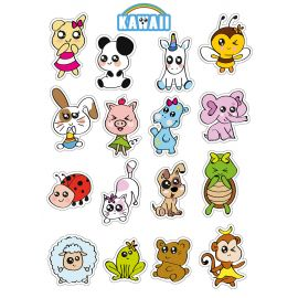 Assortiment de 32 gommettes animaux kawaii