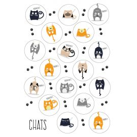 Assortiment de 98 gommettes chats