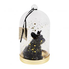 Bougie cloche verre bouledogue H 18cm