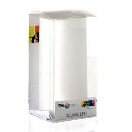 Bougie ronde LED blanche D 7x14cm