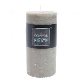 Bougie rustique cylindrique taupe 7x14cm
