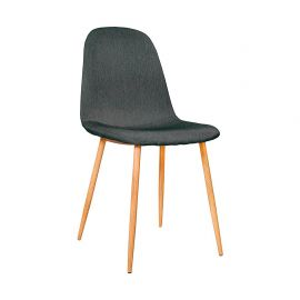 Chaise Scandinave En Velours Anthracite 45x55x85cm
