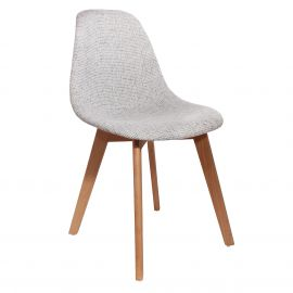 Chaise style scandinave pieds bois grosse maille grise 46x85x55cm