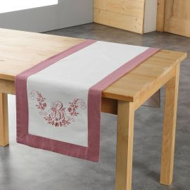 Chemin de table broderie rose et blanc 40x140cm