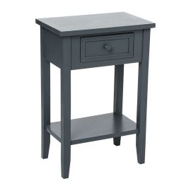 Table de chevet 1 tiroir Charme gris anthracite 45x67x30cm