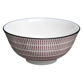 Coupelle porcelaine motifs rouges D 15cm