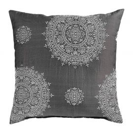Coussin déco broderie jacquard ROSELLA anthracite 40x40cm