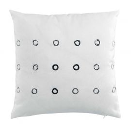 Coussin déco polyester KROM blanc 40x40cm