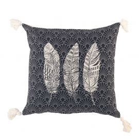 Coussin déhoussable coton ETERNITY anthracite 40x40cm
