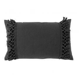 Coussin déhoussable à franges coton anthracite 30x50cm