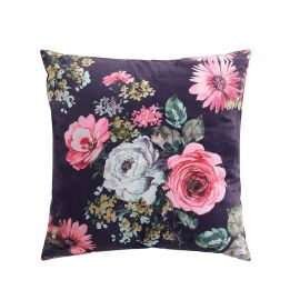 Coussin déhoussable velours FLOWER LIFE prune 45x45cm
