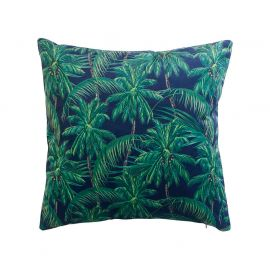 Coussin déhoussable velours imprimé jungle 45x45cm
