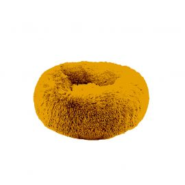 Coussin fluffy rond polyester jaune D 55cm