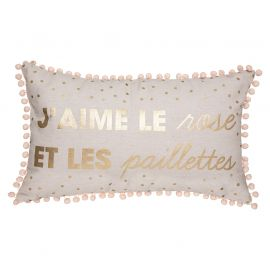 Coussin pompons rectangle rose 50x30x16cm