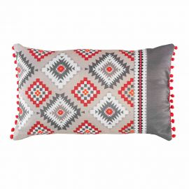 Coussin rectangulaire polyester à pompons IKADREAM 30x50cm