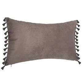 Coussin SPIRIT velours doux rectangle à pompons gris 30x50cm