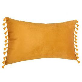 Coussin SPIRIT velours doux rectangle à pompons jaune ocre 30x50cm