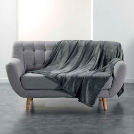 Couvre-lit flanelle polyester gris anthracite 180x220cm