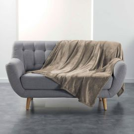 Couvre-lit flanelle polyester taupe 180x220cm