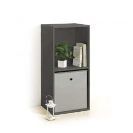 Cube de rangement 2 niches gris 34.4x67.5x29.5cm