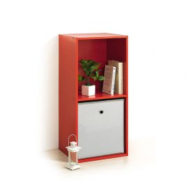 Cube de rangement 2 niches rouge 34.4x67.5x29.5cm
