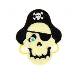 Ecusson brodé thermocollant pirate tête de mort 3.5x7.4cm