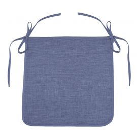 Galette de chaise polyester finition chambray NEWTON bleue 40x40cm