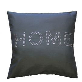 Housse de coussin polyester inscription à sequins  anthracite 40x40cm