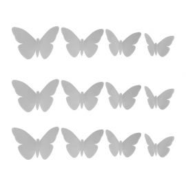 Lot de 12 stickers 3D papillon gris