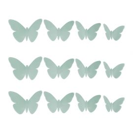 Lot de 12 stickers 3D papillon bleu