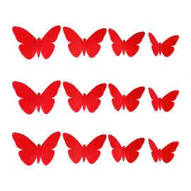 Lot de 12 stickers 3D papillon rouges