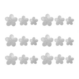 Lot de 18 stickers 3D hibiscus gris
