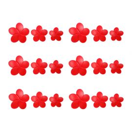 Lot de 18 stickers 3D hibiscus rouges