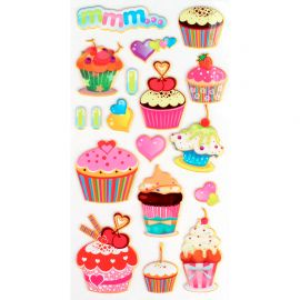 Lot de 18 stickers caoutchouc cup cakes 3D