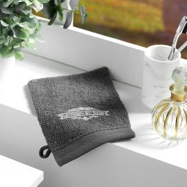 Lot de 2 gants de toilette broderie coton anthracite 15x21cm
