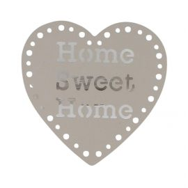 Lot de 2 pinces cœur HOME SWEET HOME taupe 8x8cm