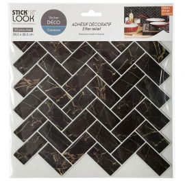 Lot de 2 stickers carrelage marbre noir 26.5x28.5xcm
