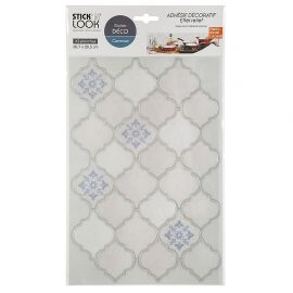 Lot de 2 stickers carrelage oriental blanc 36.7x20.5cm