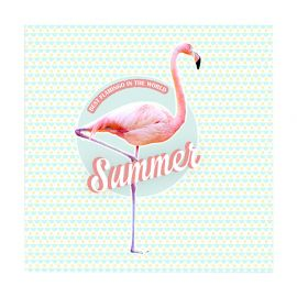 Lot de 20 serviettes papier FLAMANT ROSE 33x33cm