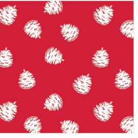 Lot de 20 serviettes papier pomme de pin rouge 33x33cm