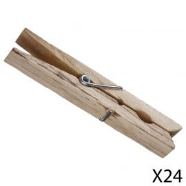 Lot de 24 pinces à linge en bois 9cm