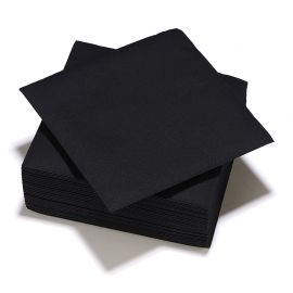Lot de 25 serviettes jetables noires 40x40cm