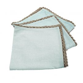 Lot de 3 serviettes de table coton bleues et finition dentelle 40x40cm