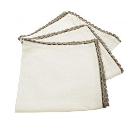 Lot de 3 serviettes de table coton naturel et finition dentelle 40x40cm