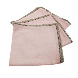 Lot de 3 serviettes de table coton rose dragée et finition dentelle 40x40cm